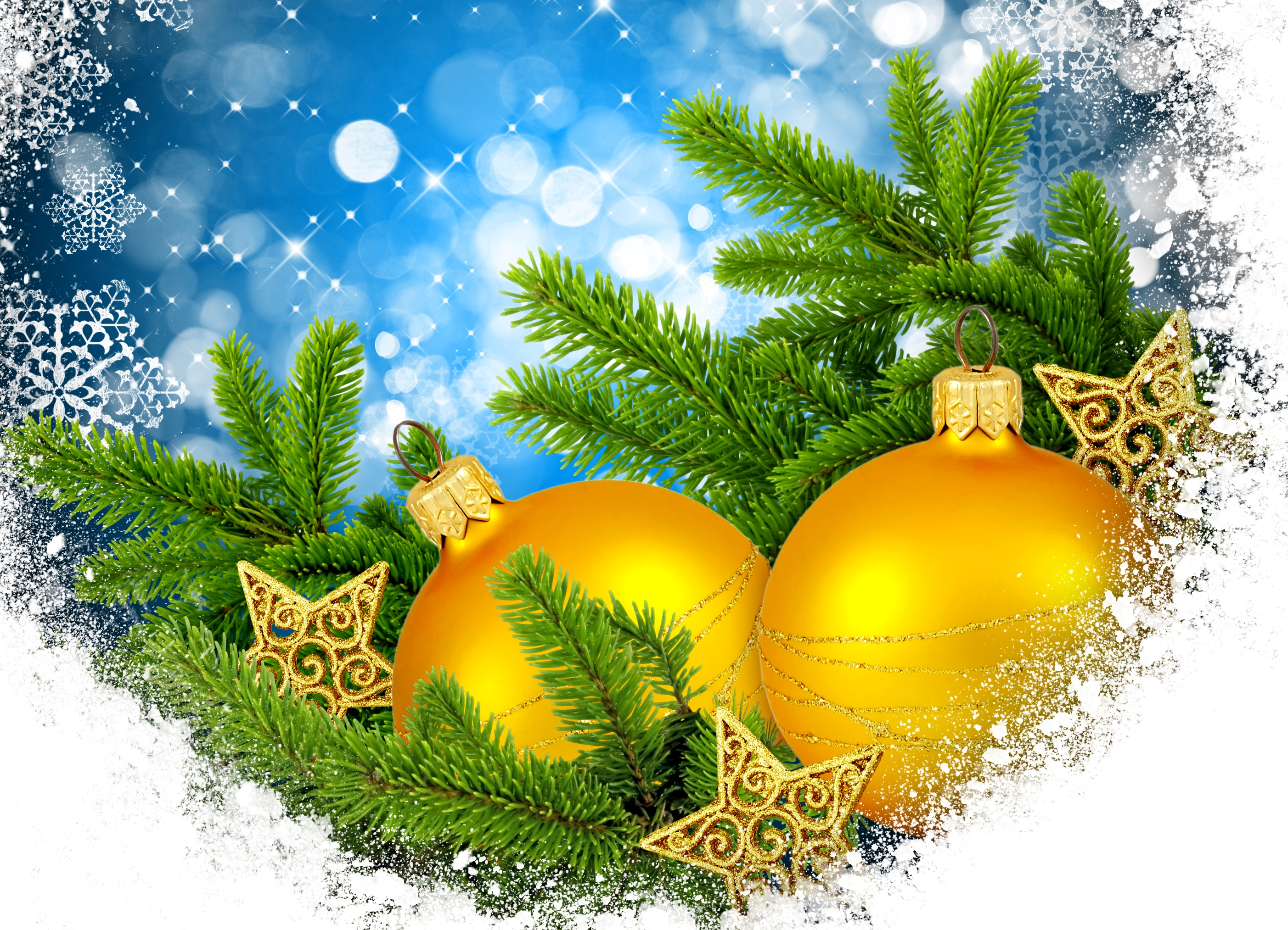 Christmas gold balls and pine on a festive background
